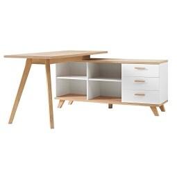 Schreibtisch mit Sideboard Weiß/Sanremo-Eiche Nachbildung ca. 144 x 75 x 145 cm