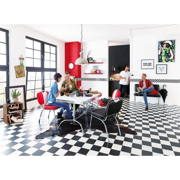 Stuhl AMERICAN Lederlook Rot/WeißBild 2