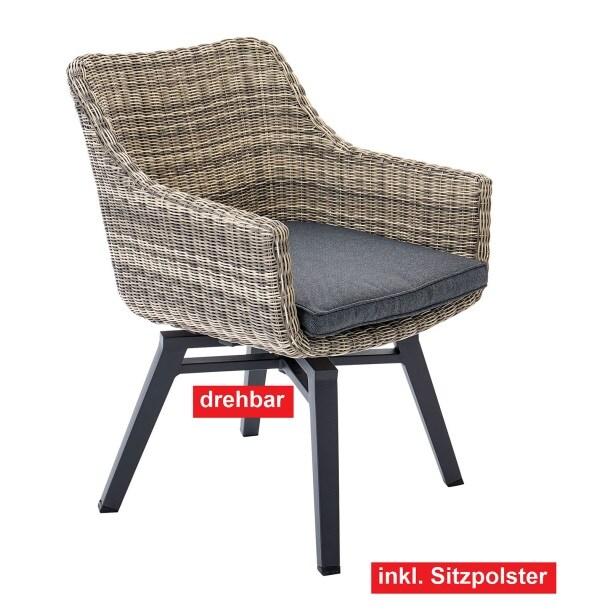 outdoor drehstuhl gartenstuhl mit armlehnen und polster. Black Bedroom Furniture Sets. Home Design Ideas