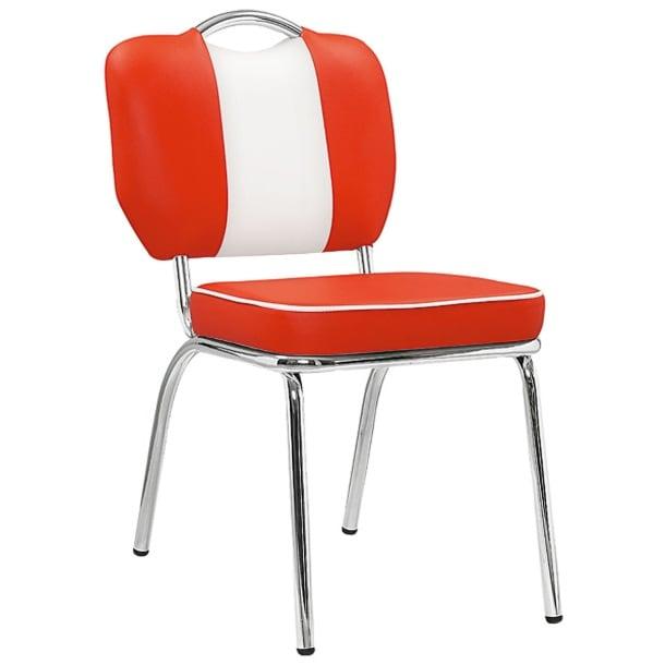 Stuhl AMERICAN Lederlook Rot/WeißBild 1