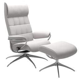 Stressless Ledersessel LONDON Set chrom /snowweiß