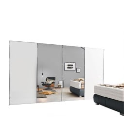 MONDO Schwebetürenschrank COMBINO PLUS Weißglas/Polarweiß ca. 320 x 223 x 69 cm