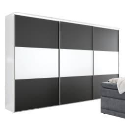CASAVANTI Kleiderschrank LENTO 249 x 222 x 68 cm Holznachbildung schwarz/weiß