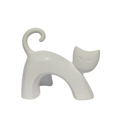 Dekofigur Katze, stehend aus Keramik L 22 WHITE Weiß glänzend