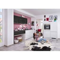 FAKTA Küchenzeile Grafit/Weiß Hochglanz ca. 310 + 130 cm