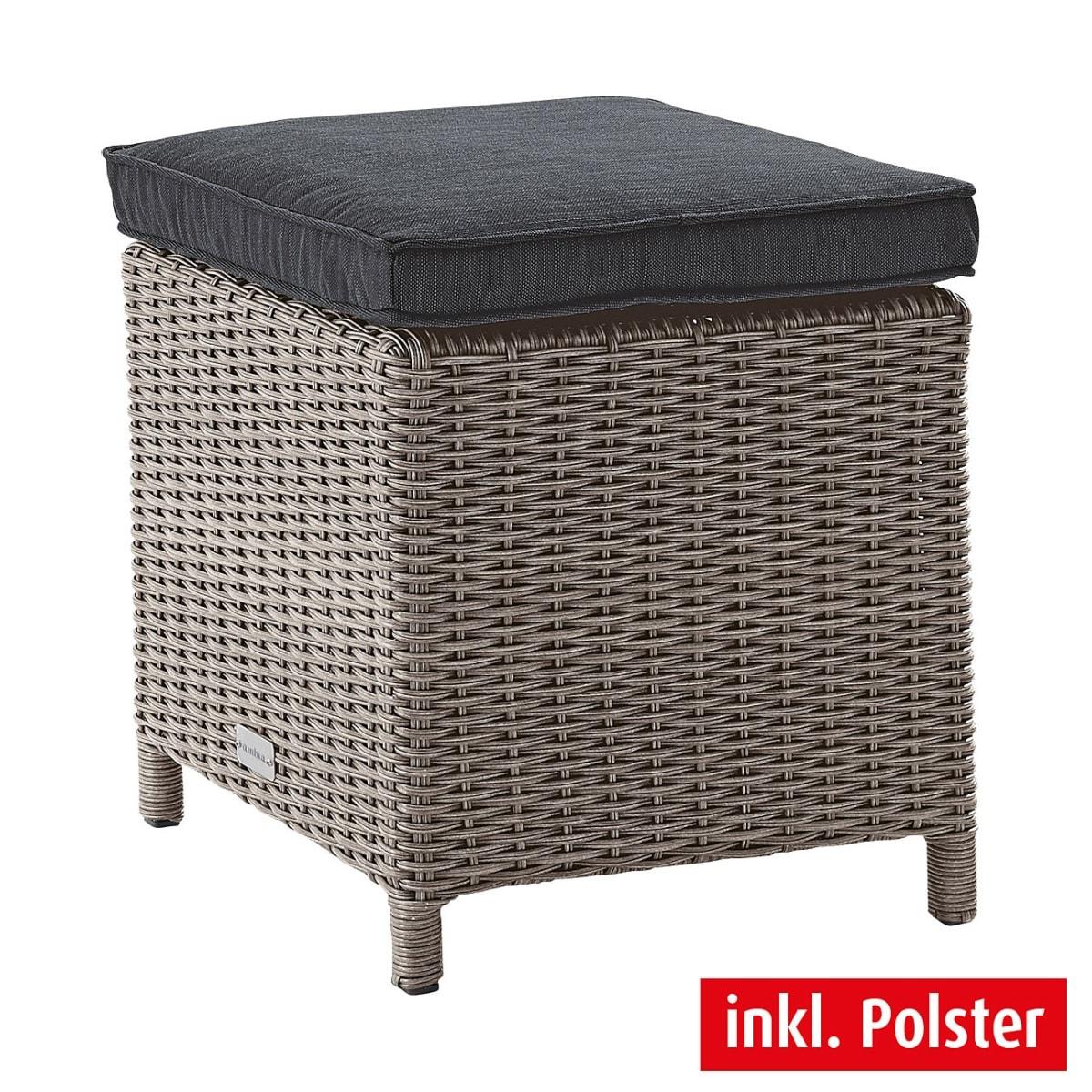 outdoor hocker mit kissen smoky kunststoffgeflecht grau. Black Bedroom Furniture Sets. Home Design Ideas