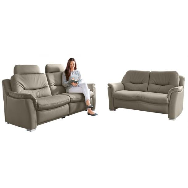 com4lux sofa garnitur 2 teilig lederbezug stonegrau. Black Bedroom Furniture Sets. Home Design Ideas