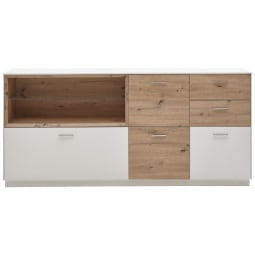 Phill Hill Sideboard ANGEL 197 x 90 x 41 cm Lack weiß matt/ Asteiche