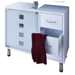 Waschbeckenunterschrank 67 x 57,5 x 29,5 cm Holznachbildung weiß