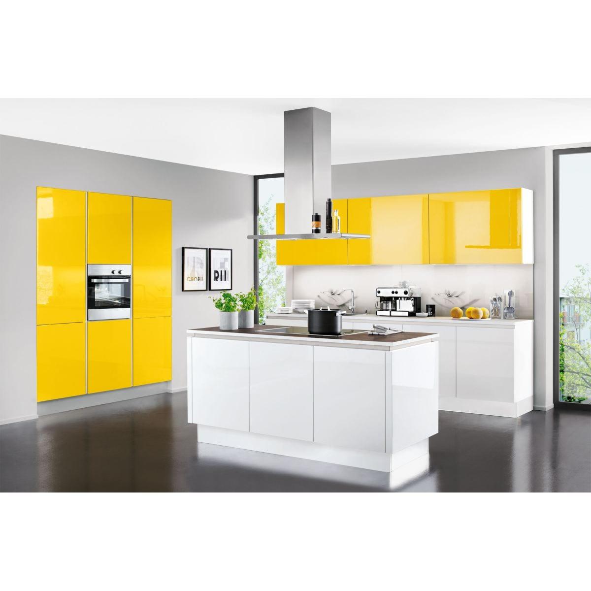 Lux insel kuche in hochglanz weiss oder lemon porta for Küche porta