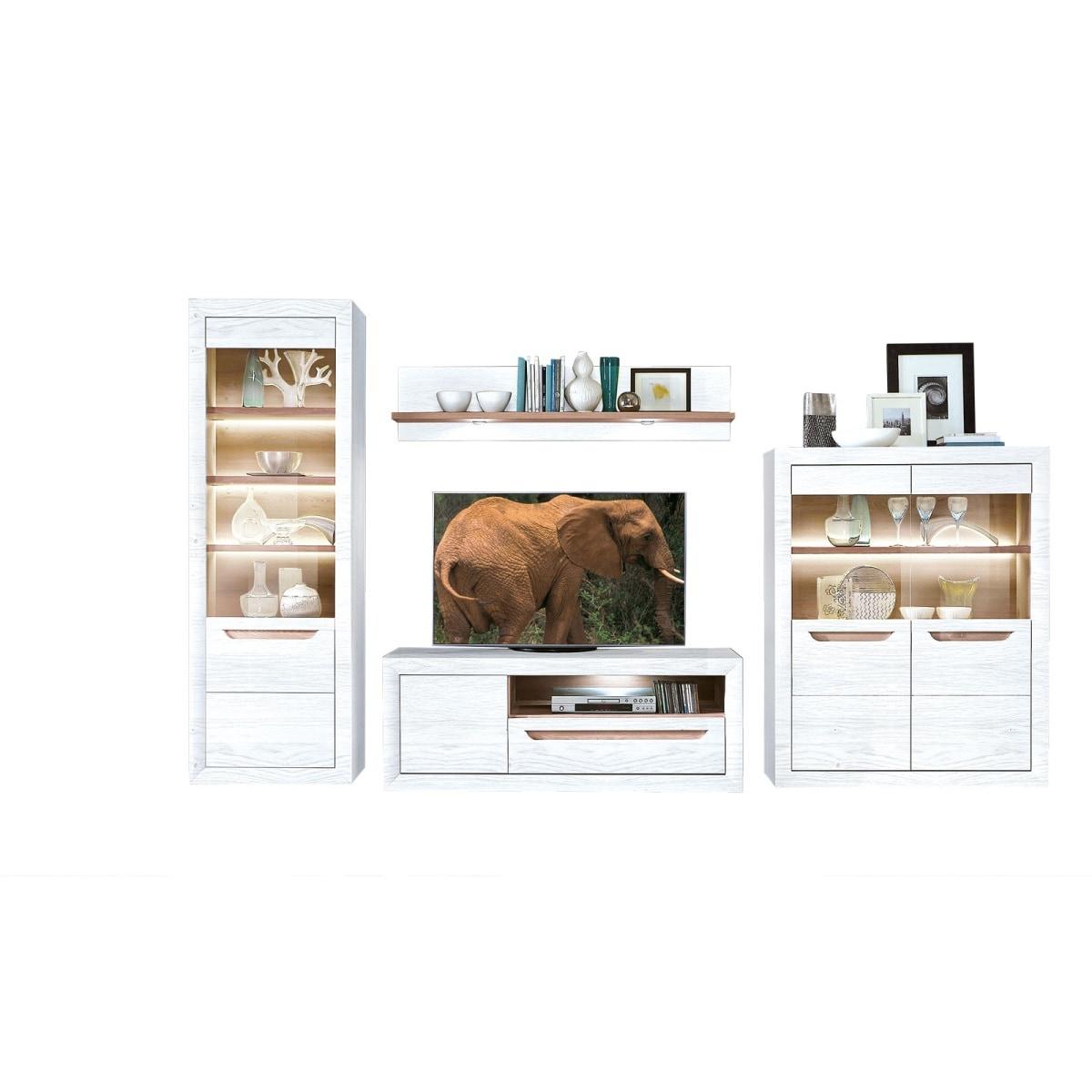 vito wohnwand toga schneeeiche nachbildung ca 352 x 203 x. Black Bedroom Furniture Sets. Home Design Ideas