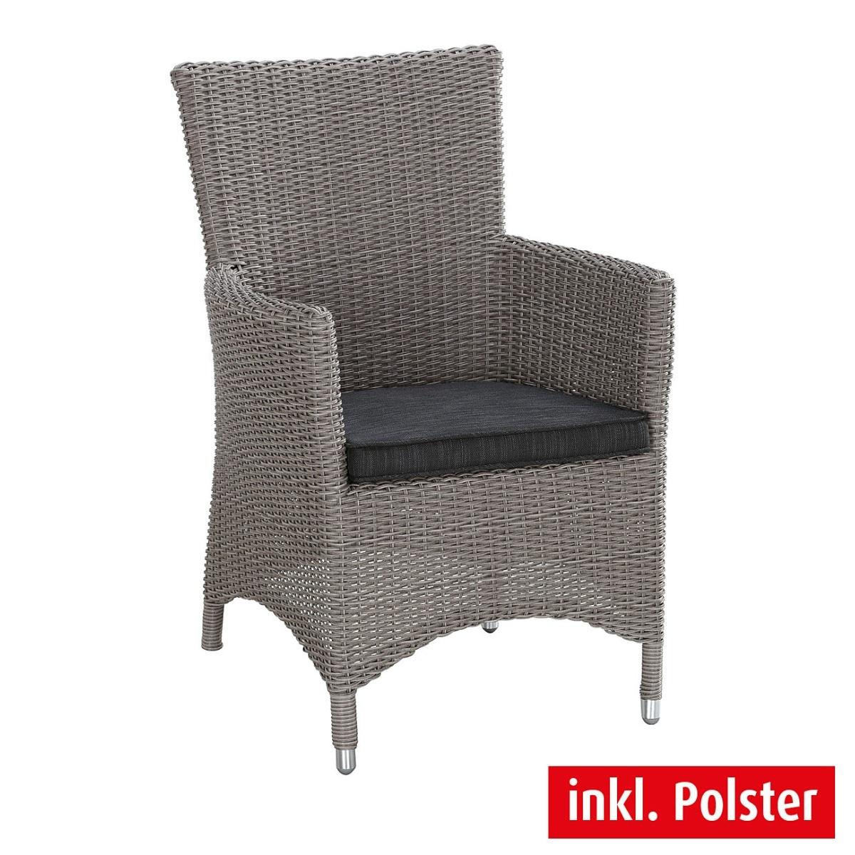 outdoor stuhl mit armlehnen und kissen smoky kunststoffgeflecht grau porta. Black Bedroom Furniture Sets. Home Design Ideas