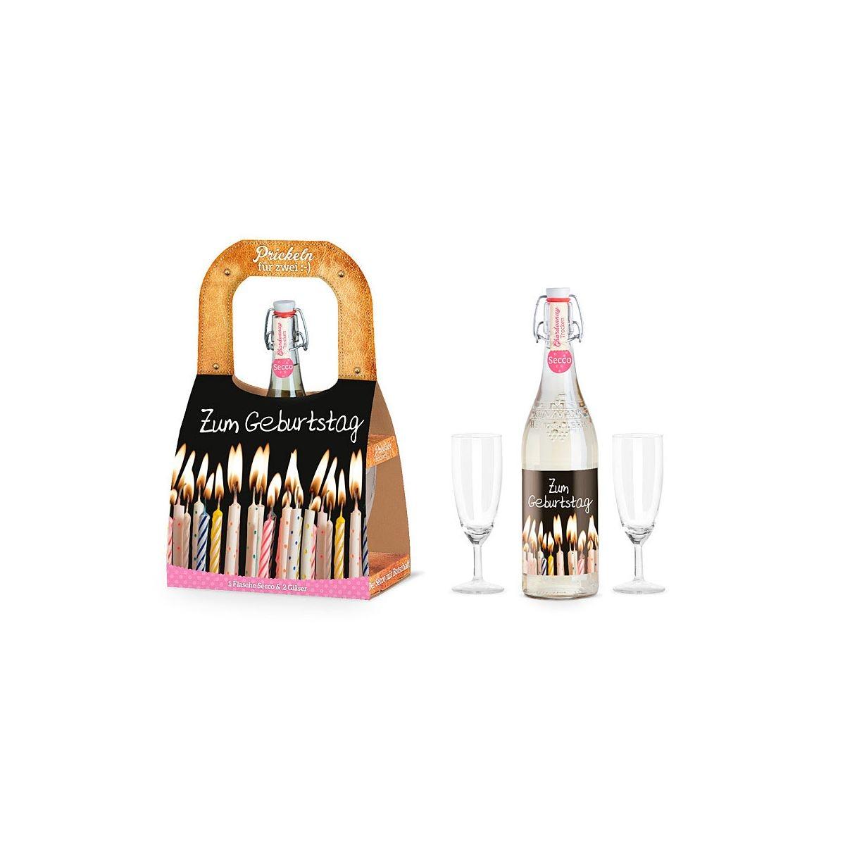 La vida geschenk f r dich set f r zwei flasche secco sekt mit 2 gl sern geburtstag porta - Polstermobel flasche ...