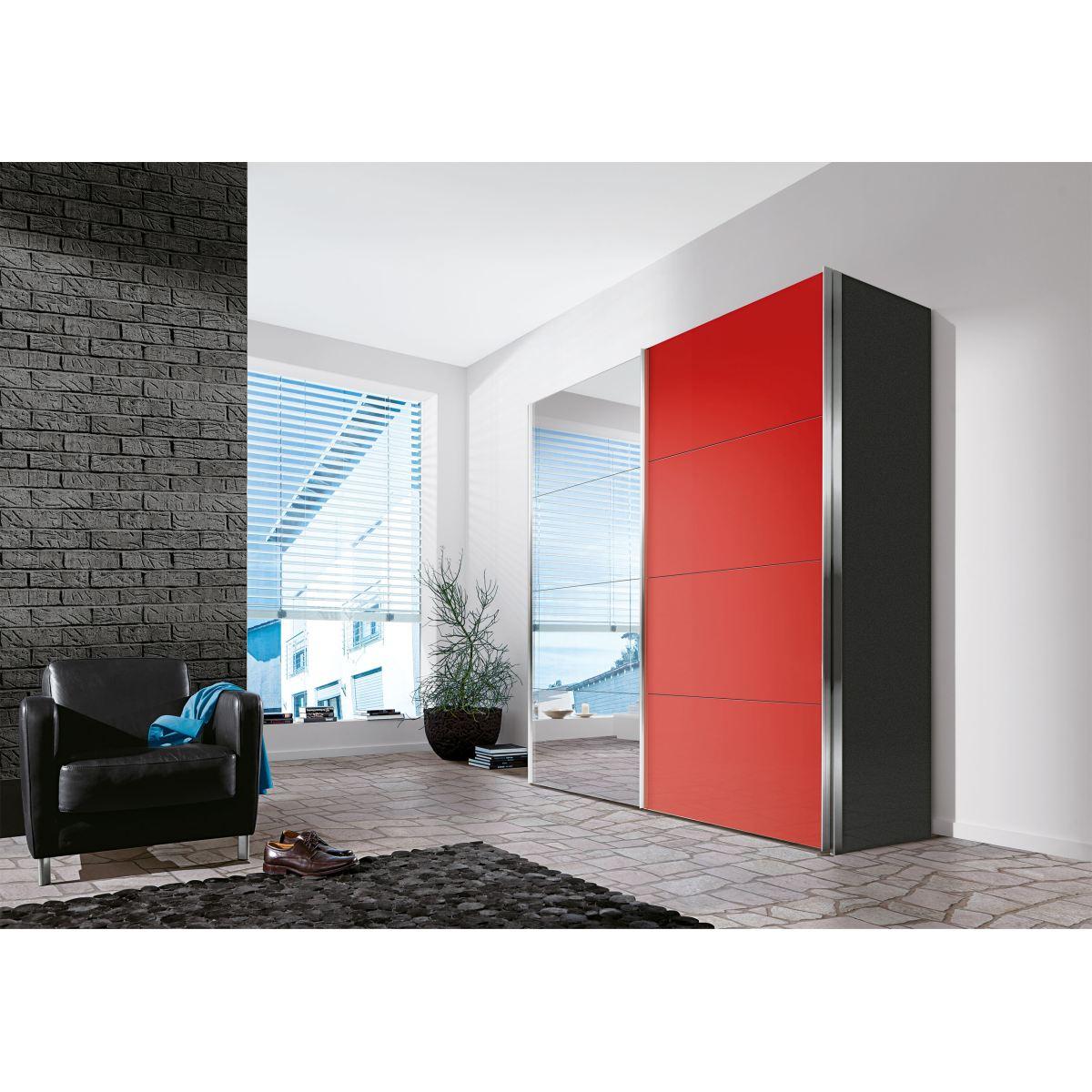 Liv 39 in kleiderschrank sydney in graphit und rotglas porta - Kleiderschrank porta ...
