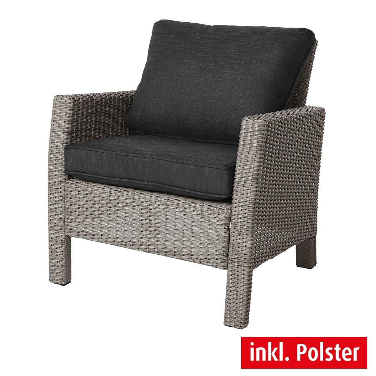 outdoor sessel mit kissen smoky kunststoffgeflecht grau. Black Bedroom Furniture Sets. Home Design Ideas