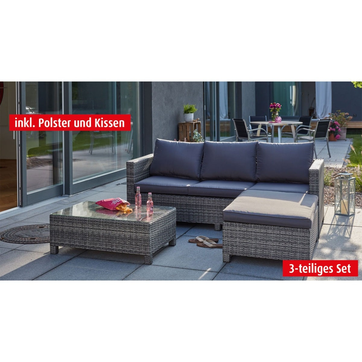 outdoor lounge sofa mit tisch hocker und polster faro. Black Bedroom Furniture Sets. Home Design Ideas