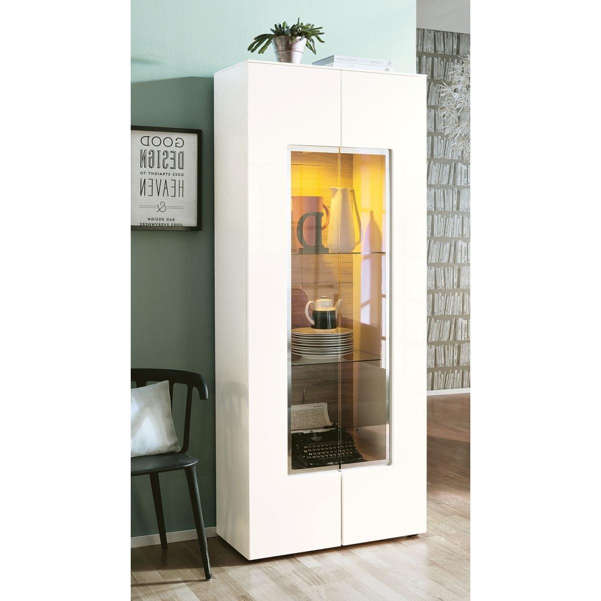 set one by musterring vitrine arizona wei matt wei hochglanz ca 80 x 198 x 40 cm porta. Black Bedroom Furniture Sets. Home Design Ideas