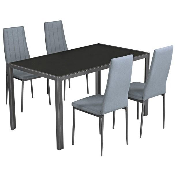 Tisch Set Mit 4 Stühlen 140 X 80 Cm Metall Glas Stoffbezug