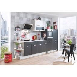 FAKTA Küchenzeile Grafit matt/Polarpinie Dekor ca. 335 cm