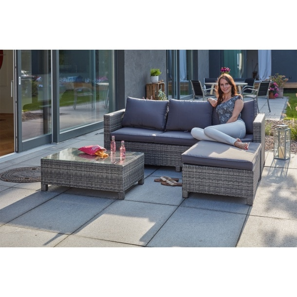 outdoor lounge sofa mit tisch hocker und polster faro grau porta. Black Bedroom Furniture Sets. Home Design Ideas