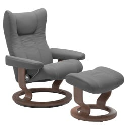 Stressless Ledersessel WING mit Hocker grau / Classic Gestell Walnuss