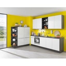 FAKTA Küchenzeile Weiß Hochglanz/Ulme Caruba Dekor ca. 150 + 270 cm