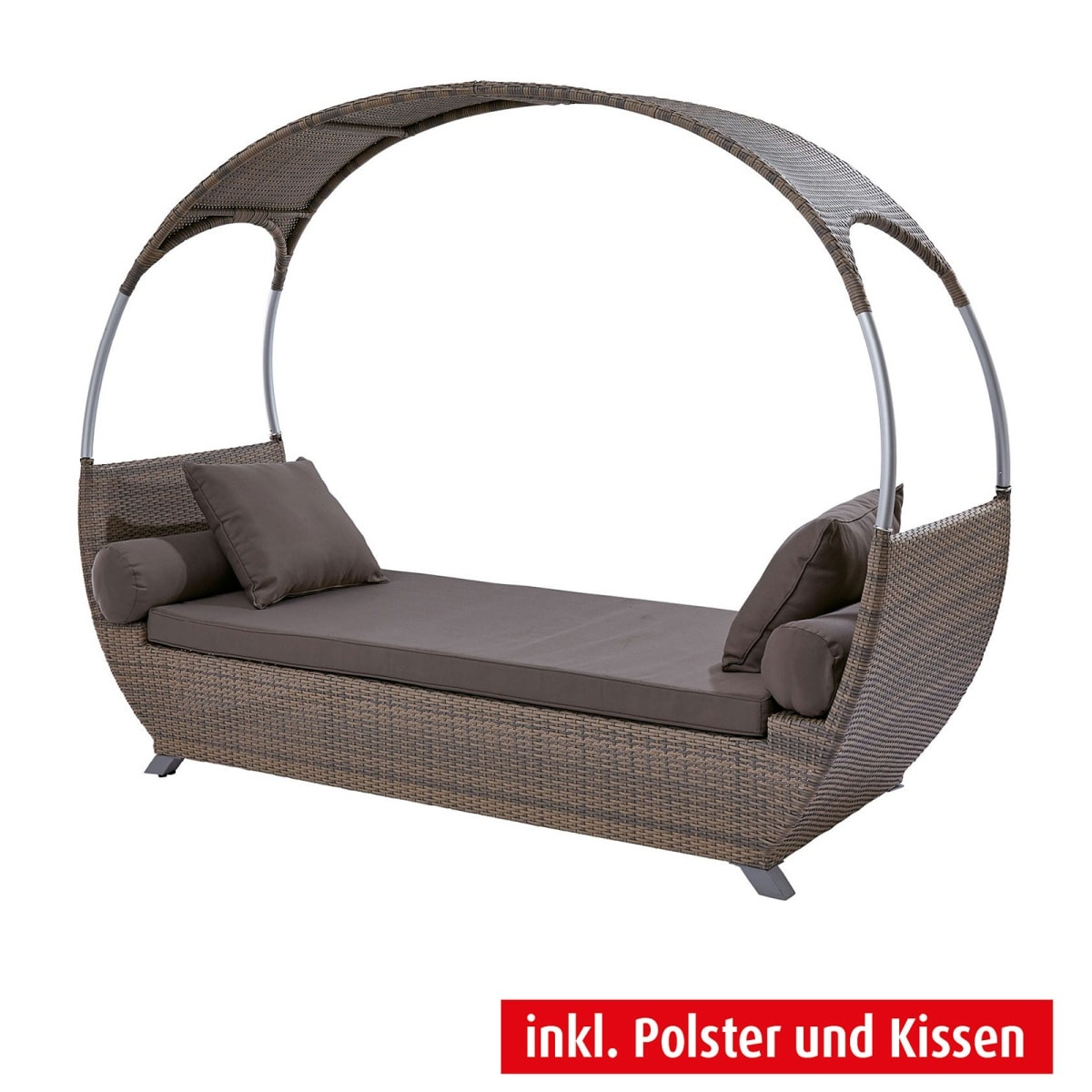 outdoor liege mit dach peru braungrau mit polster porta. Black Bedroom Furniture Sets. Home Design Ideas