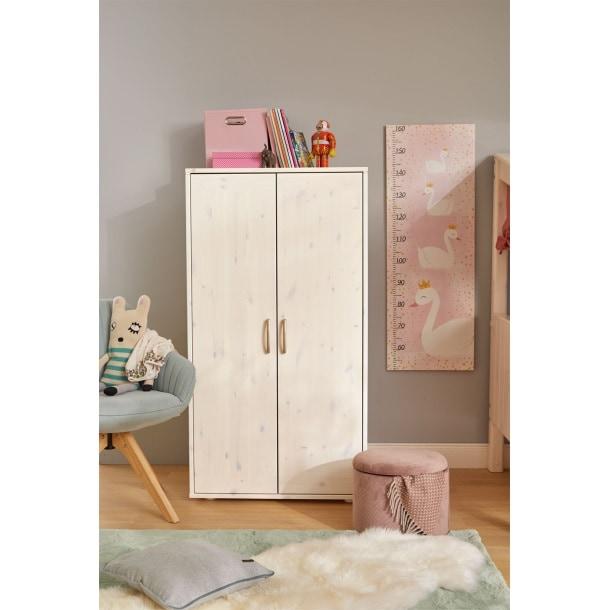 Kleiderschrank 72 x 135 x 56 cm Holz weißBild 3