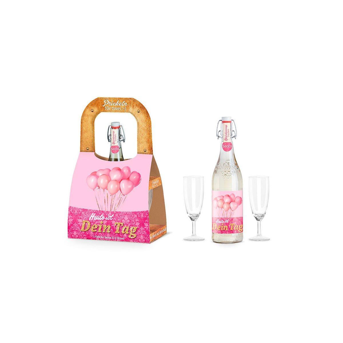 La vida geschenk f r dich set f r zwei flasche secco sekt mit 2 gl sern heute ist dein tag - Polstermobel flasche ...
