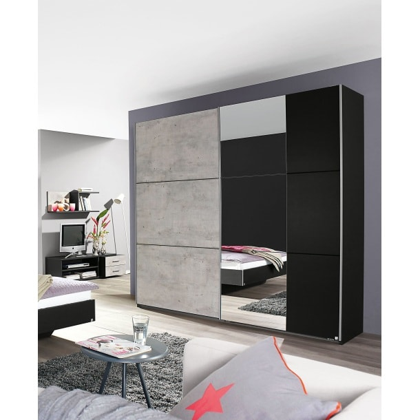 self kleiderschrank lenny grau metallic nachbildung ca. Black Bedroom Furniture Sets. Home Design Ideas