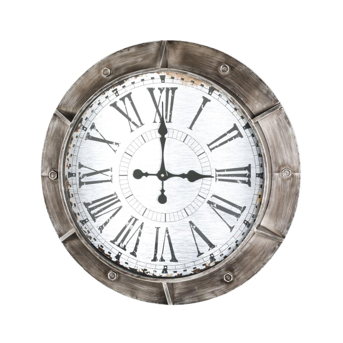Wanduhr 76 x 9 cm Metall braun weiß