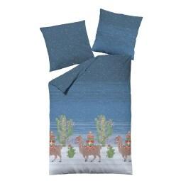 DORMISETTE Biber-Bettwäsche TIERE 155 x 220 cm blau