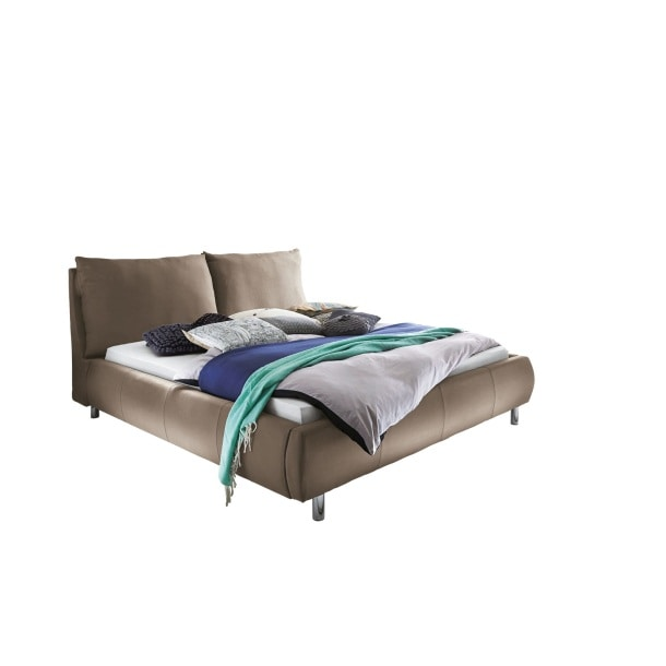 bettgestell softly stoff hellbraun ca 140 x 200 cm porta. Black Bedroom Furniture Sets. Home Design Ideas