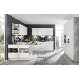 FAKTA U-Küchenzeile Weiß/Blau-Grau ca. 120 x 245 x 275 x 184 cm