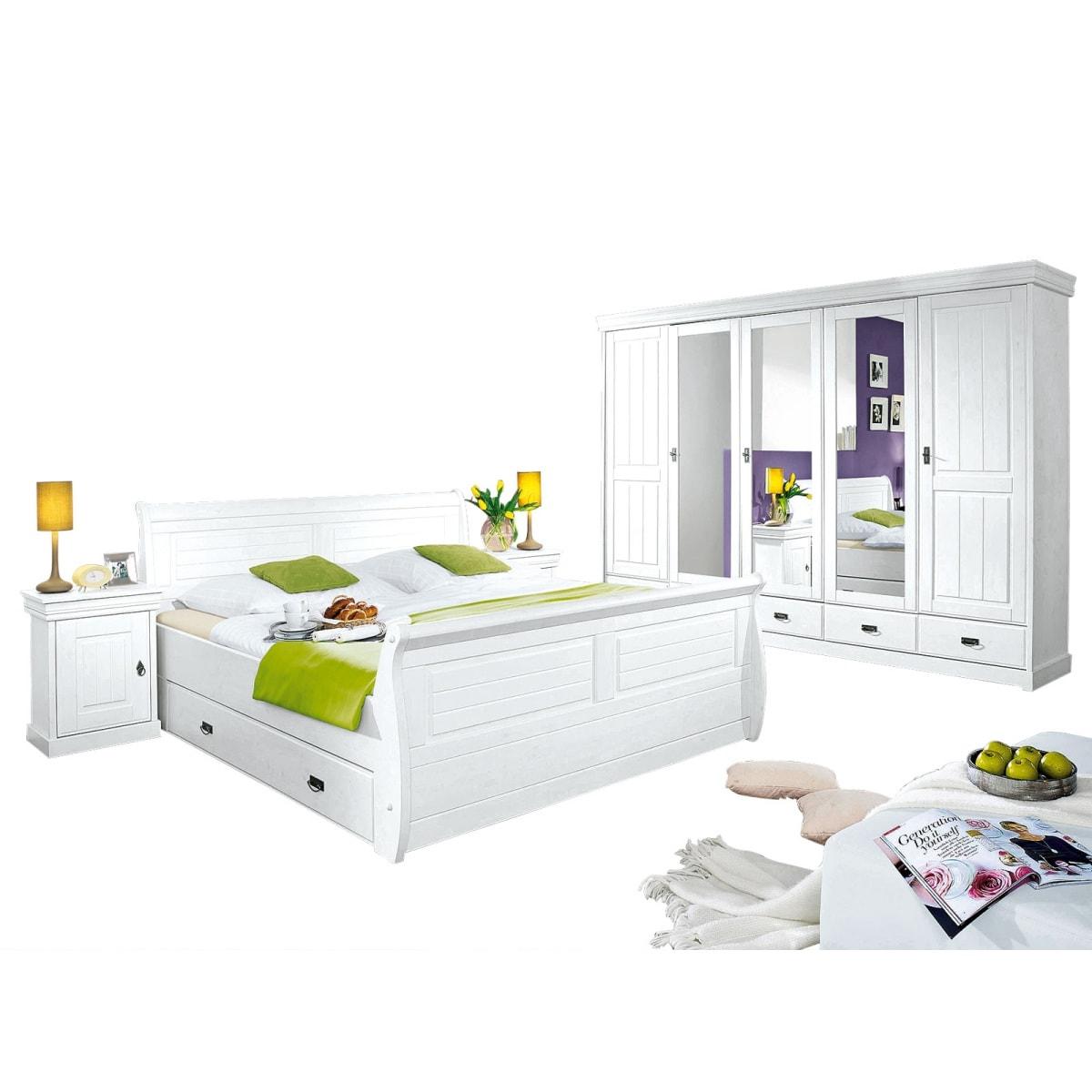 Schlafzimmer kiefer massiv wei gewachst ca 180 x 200 cm for Ecksofa 180 x 200