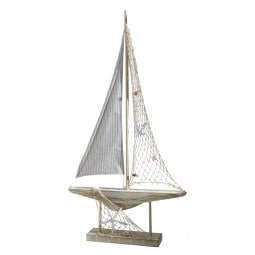 Deko Segelboot MEERESBRISE 47 cm braun, weiß