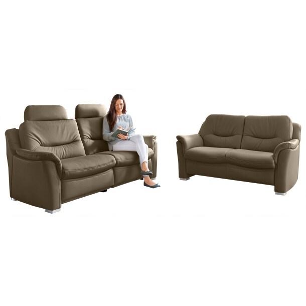 com4lux sofa garnitur 2 teilig lederbezug nougatbraun. Black Bedroom Furniture Sets. Home Design Ideas