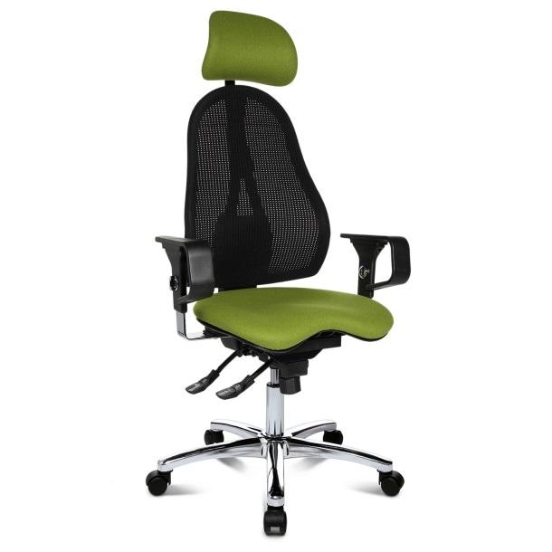 Drehstuhl mit Kopfstütze Wolle Grün/Netz SchwarzBild 1
