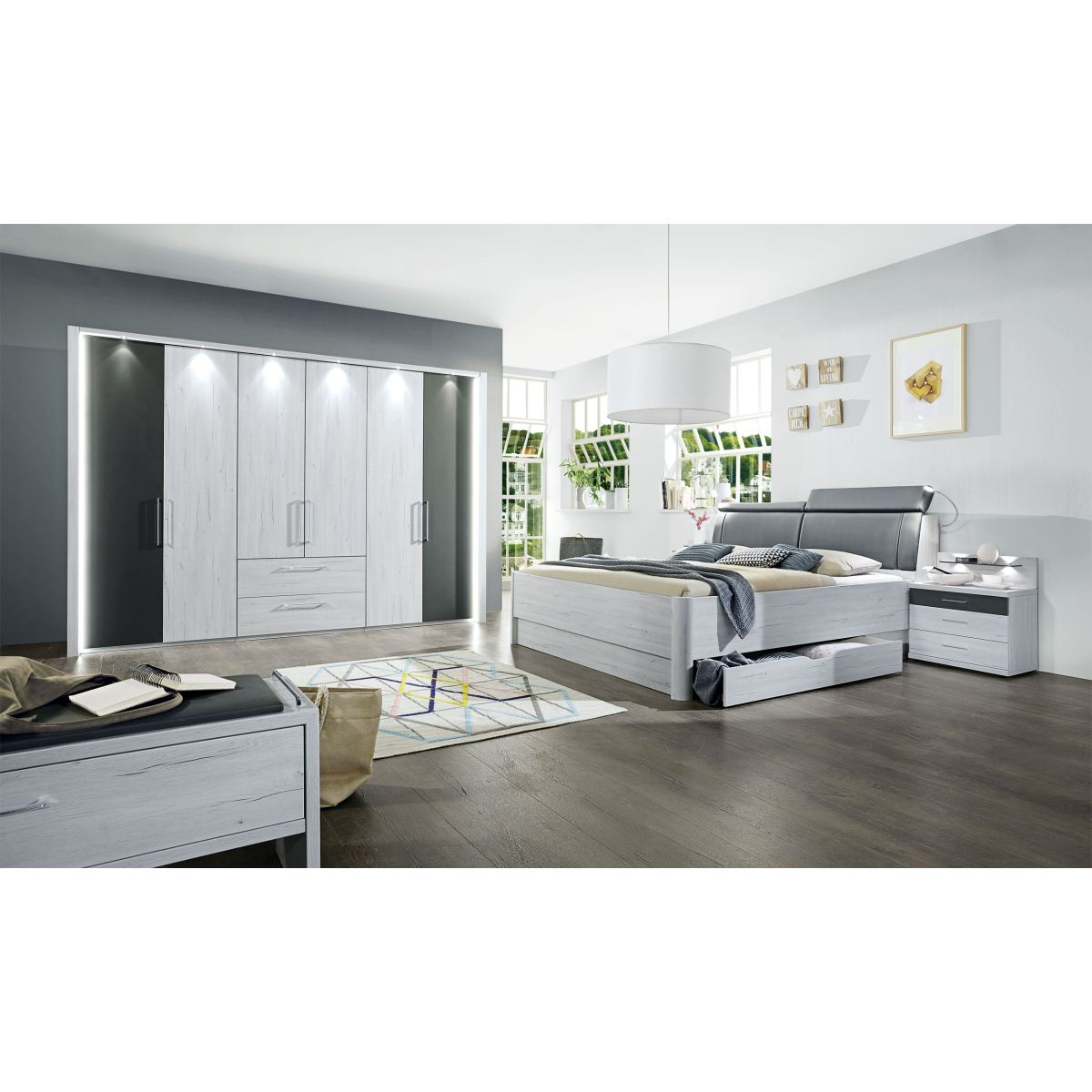 vito schlafzimmer kanada wei eiche nachbildung porta. Black Bedroom Furniture Sets. Home Design Ideas