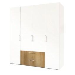 Kleiderschrank NEW JERSEY ADS-I 200 x 58 cm Polarweiß /Polarweiß/Riviera-Eiche NB
