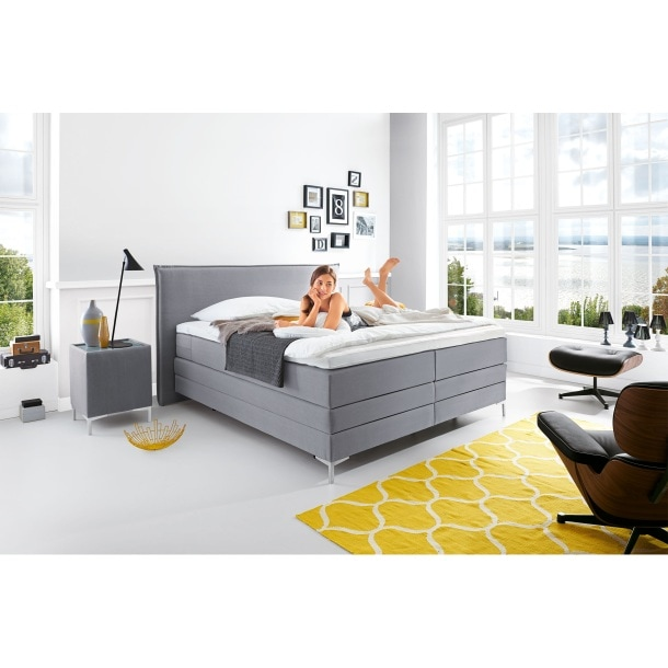 mondo boxspringbett silence grau ca 180 x 200 cm taschenfederkern h3 porta. Black Bedroom Furniture Sets. Home Design Ideas