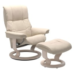 Stressless Ledersessel MAYFAIR mit Hocker Batick creambeige / Classic Gestell Whitewash