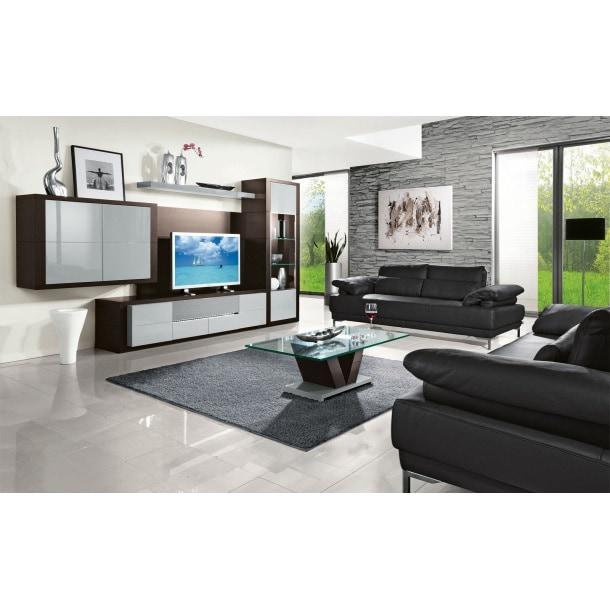mondo wohnwand aragon in grau hochglanz ca 345 x 190 x 63 cm porta. Black Bedroom Furniture Sets. Home Design Ideas