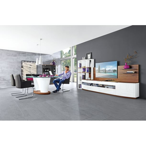 mondo wohnwand avantgarde plus lack wei hochglanz porta. Black Bedroom Furniture Sets. Home Design Ideas
