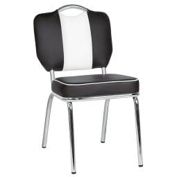 Stuhl AMERICAN Lederlook Schwarz/Weiß
