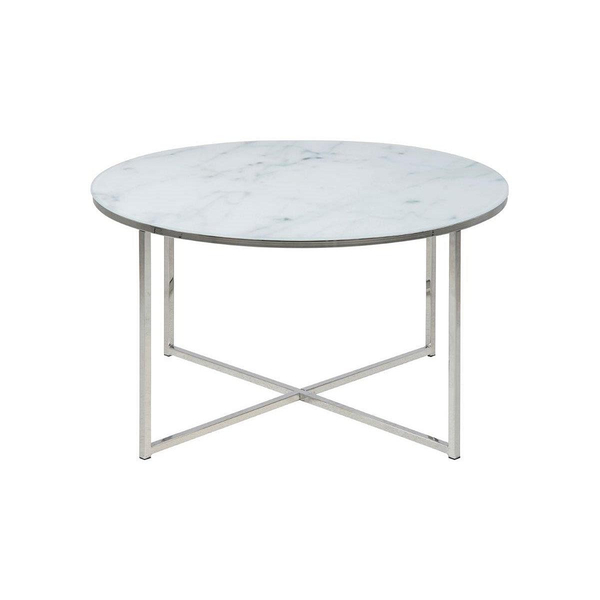 AuBergewohnlich Couchtisch JOHN Glas Weiß/Marmor Motiv Ø Ca. 80 Cm