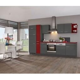 FAKTA Küchenzeile Burgundrot/Grafit matt ca. 320 cm