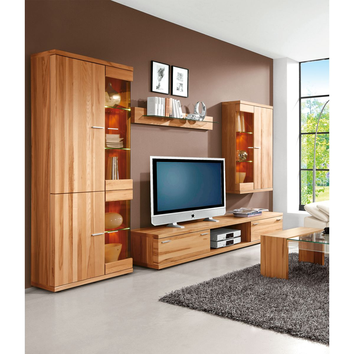 wohnwand hamburg aus teilmassiver kernbuche porta null. Black Bedroom Furniture Sets. Home Design Ideas