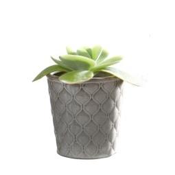 casaNOVA Übertopf GREY 11 cm Keramik grau mit Relief