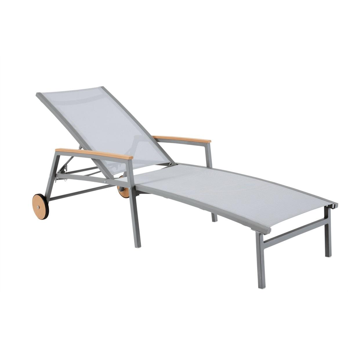 outdoor liege gartenliege mit armlehnen und rollen kian. Black Bedroom Furniture Sets. Home Design Ideas